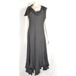 Komarov dress SZ L black crinkle material cowl nec